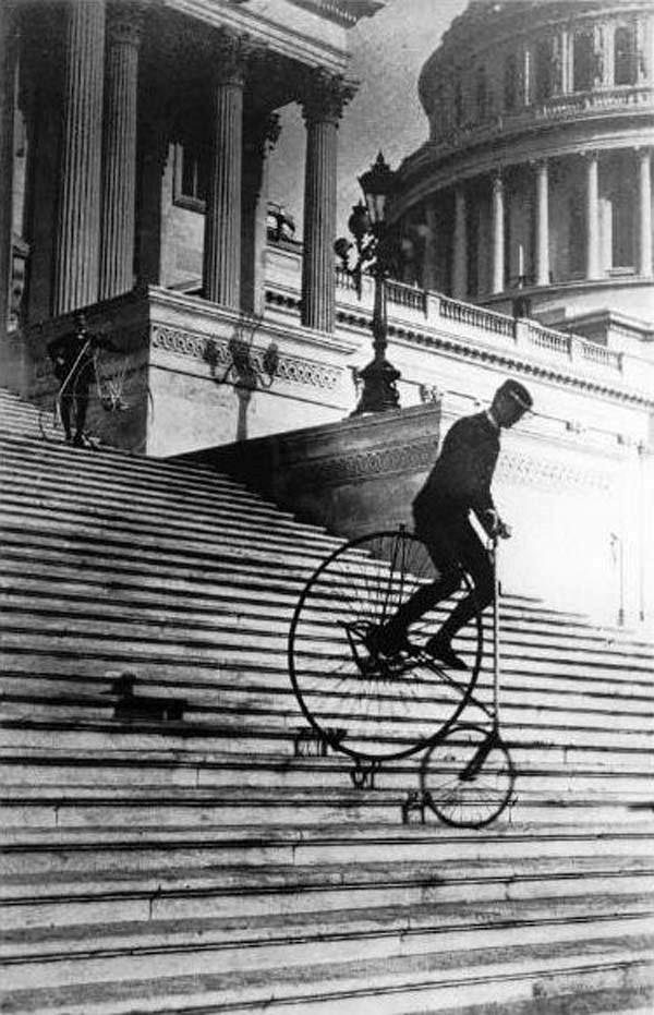 A stable ride. - Will Robertson famously rode down the steps of the Capital Building in Washington, D.C. in 1885 to illustrate how stable the bicycle was.