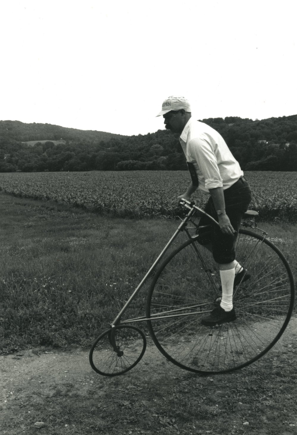 The bicycle lives on… - A bicyclist in 1990s on an American Star at the Billings Farm & Museum.