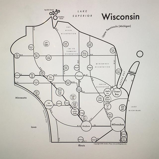 Hey Wisconsin humans!! Any thoughts on this? Any historical fur trapping strongholds I'm missing? Or the birthplace of cheese curds? Or some other cultural significant gems? Comment here or send me an email archie@archiespress.com 🇺🇸