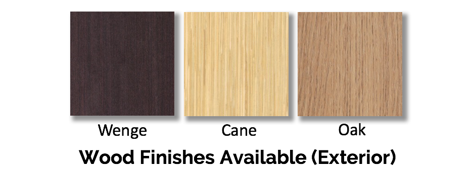 Wood finishes available (Exterior)