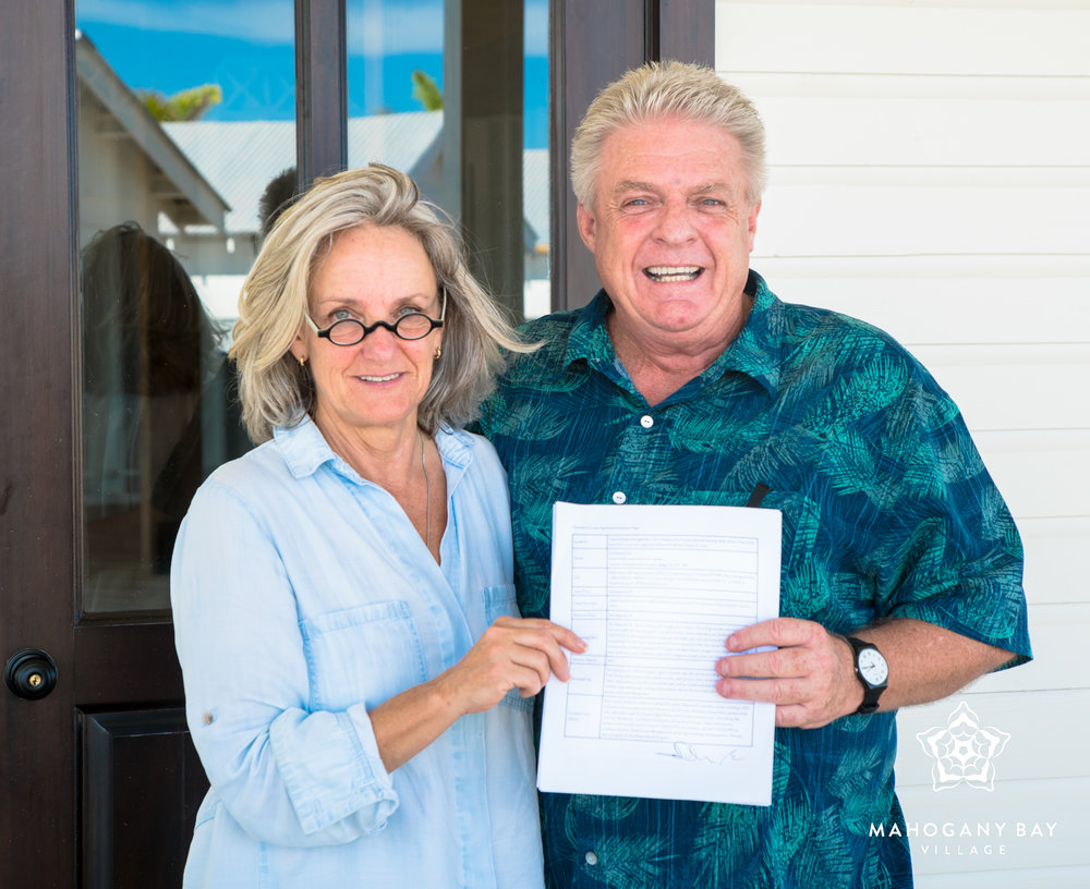 Ian Anderson of Farm House Deli with Mahogany Bay Village developer and CEO, Beth Clifford.