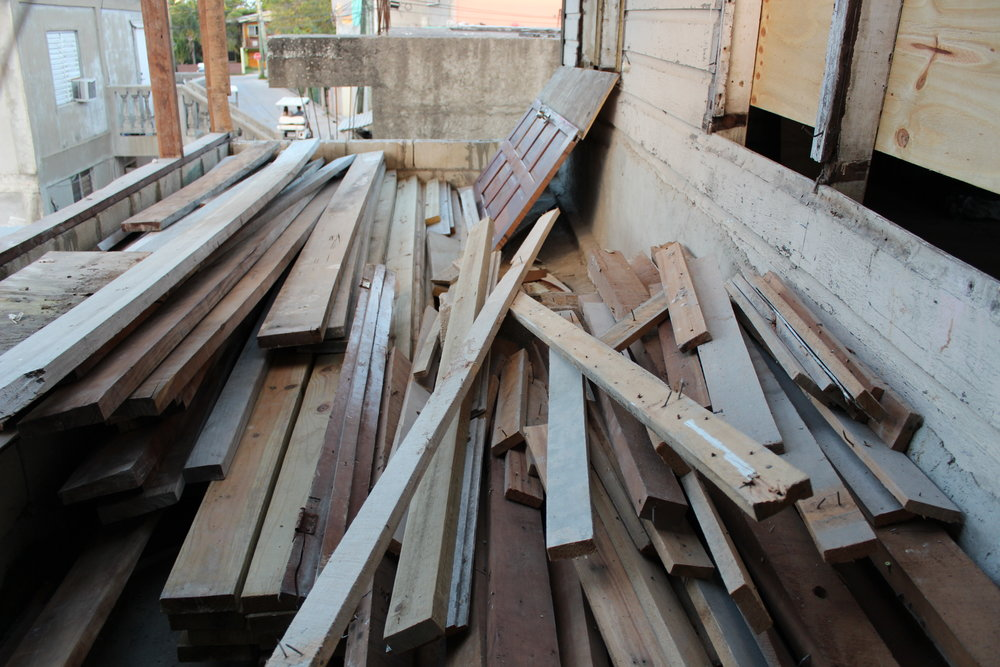 A small portion of the lumber donated by Caribbean Homes & Exports.