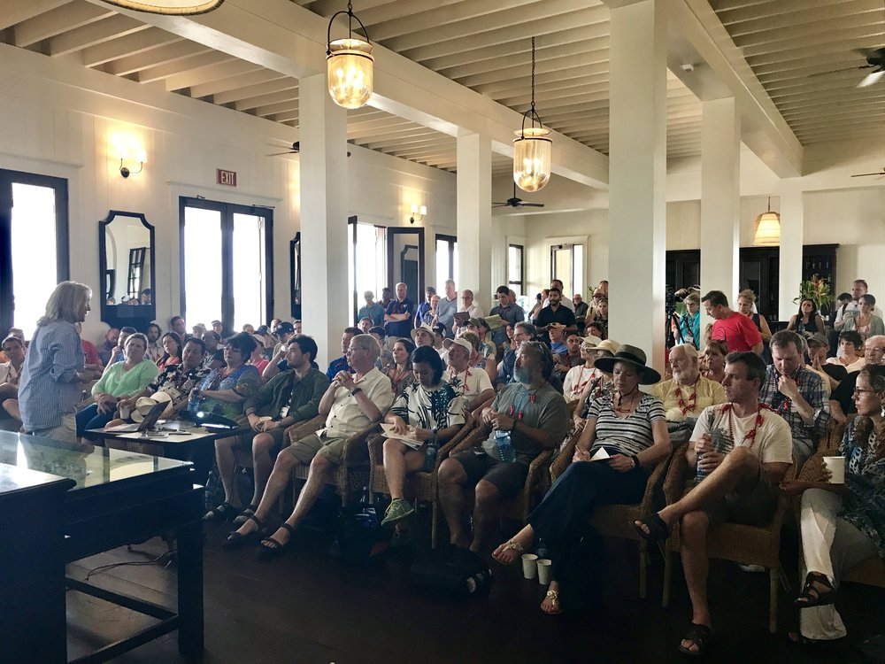 CEO and developer of Mahogany Bay Village, Beth Clifford, welcomed the investor group of 120 into The Great House and talked about creating value for investors and maximizing revenue as a hotel.
