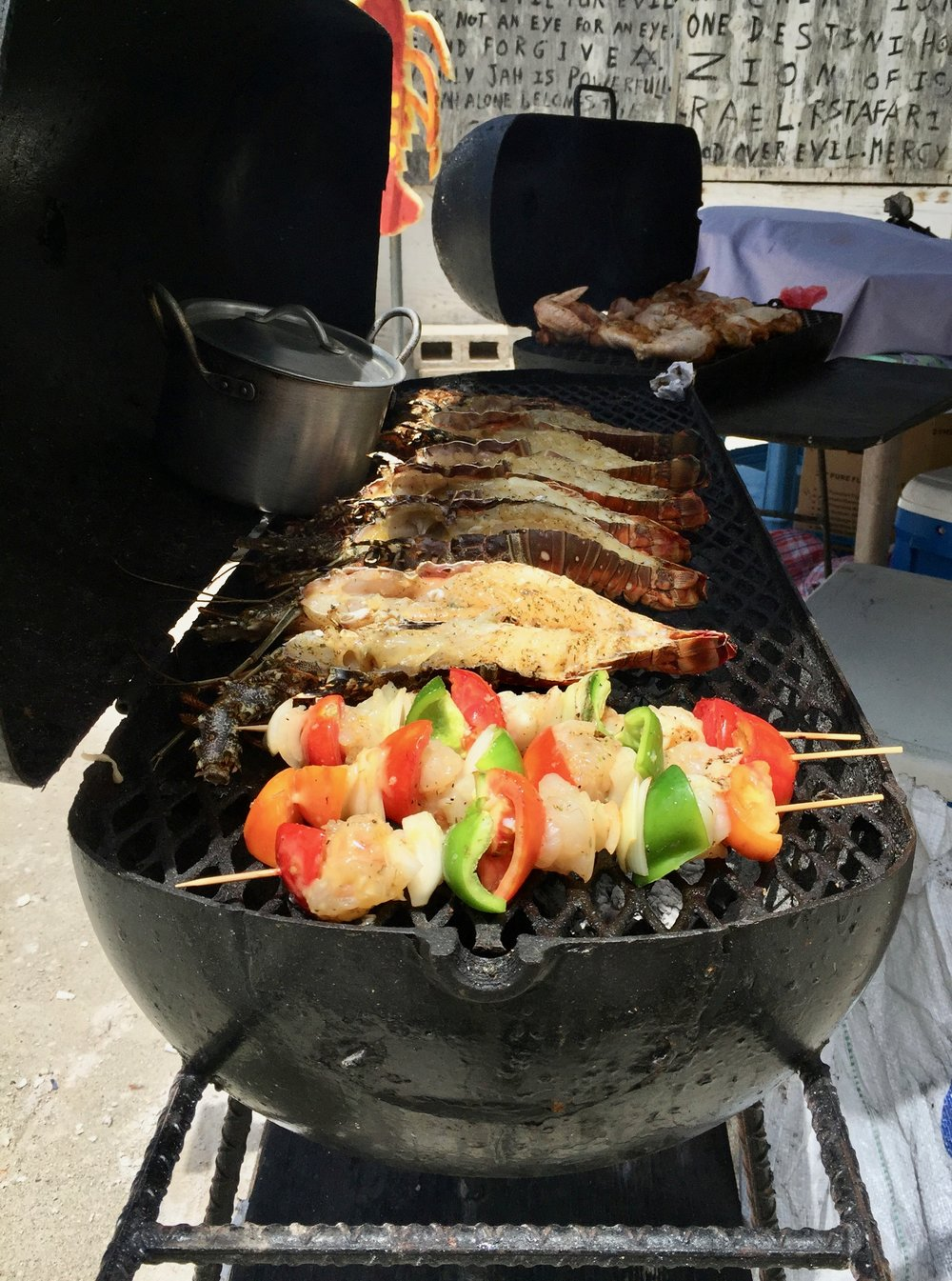 Sea-to-grill whole lobster and lobster kebabs!