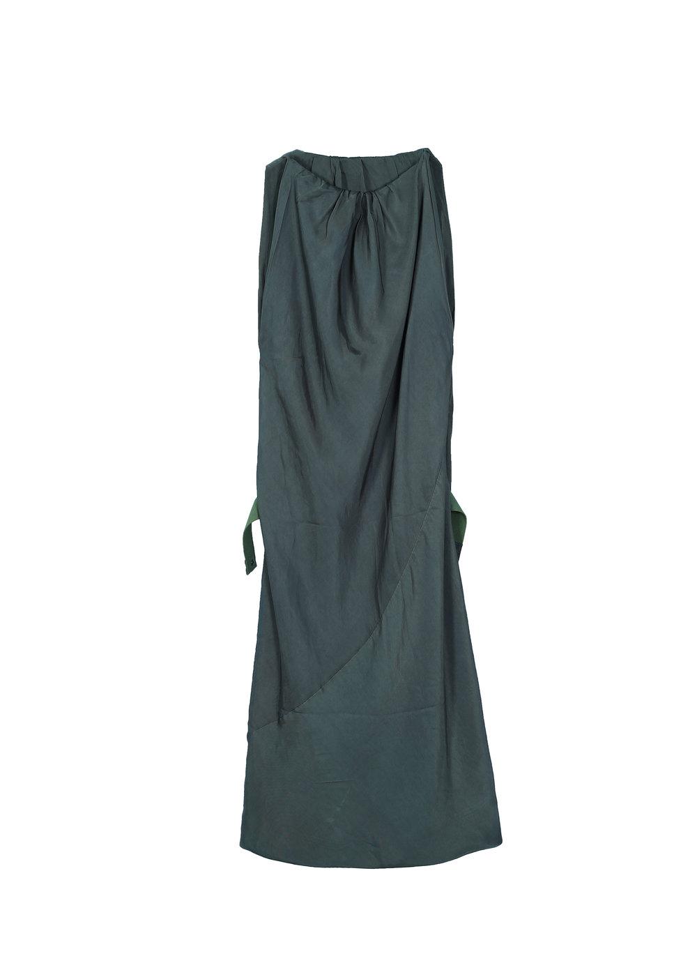 Panelled Belted Satin Dress (5I550023)