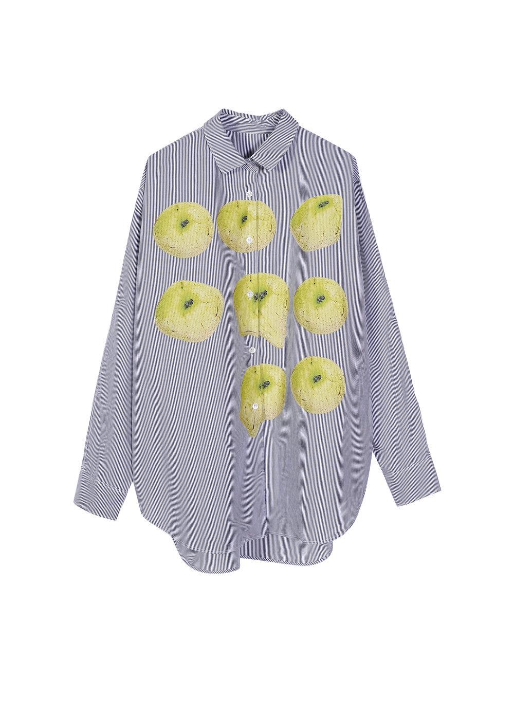 Fruit-Print Striped Cotton Shirt (5I110002)