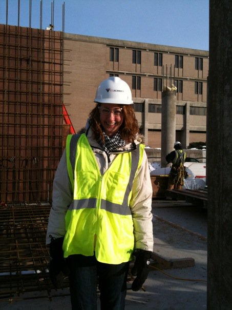 Co-founder Taralinda Willis standing inside UW-Madison's Union South during its construction from 2007 to 2010.