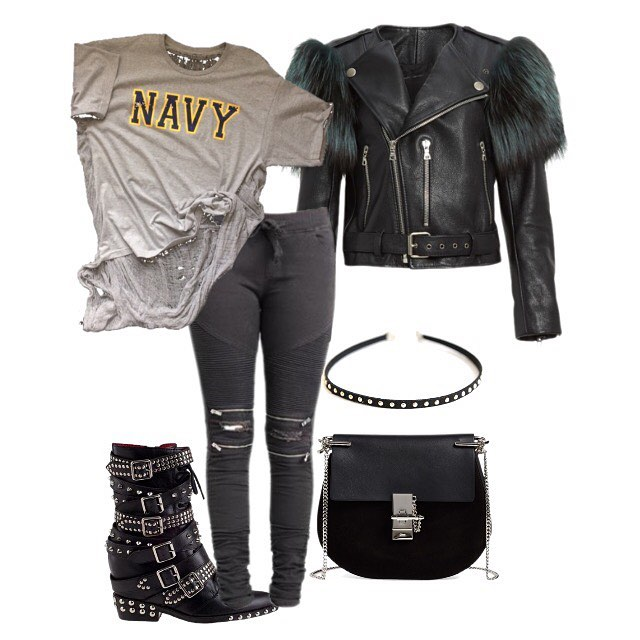 Team the Navy shredded back tee with your favorite skinnies and boots, remember accessories is key.