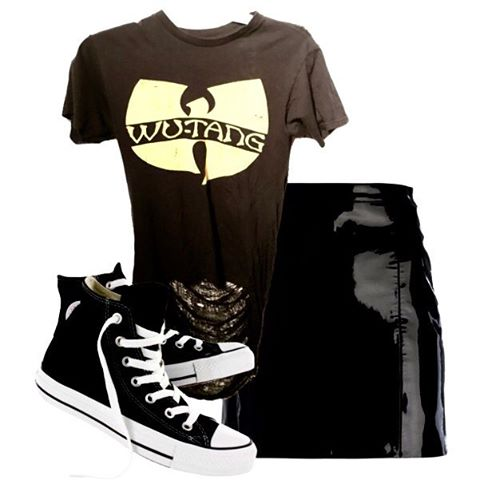 Style the Wu Tang tee with a latex or leather mini skirt and chucks for a ultra casual look.