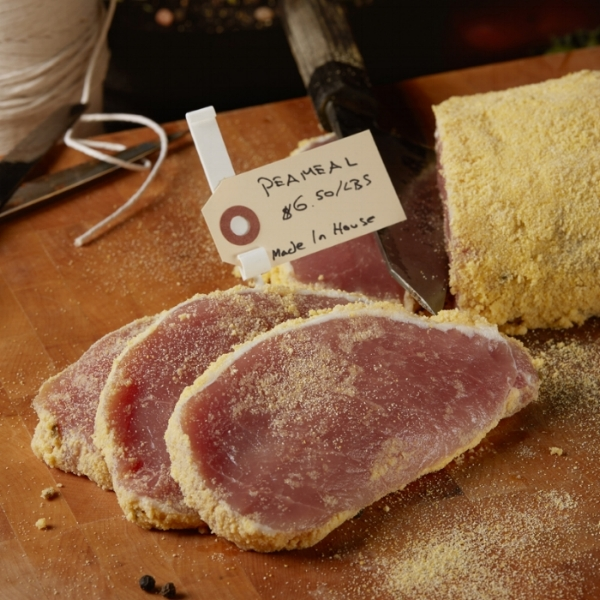 Peameal bacon  - pork loin naturally cured without the use of nitrate, hand sliced to 3.5 ounces approximately