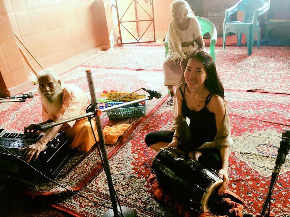 Jamming with some cool babas in Rishikesh, Mother India