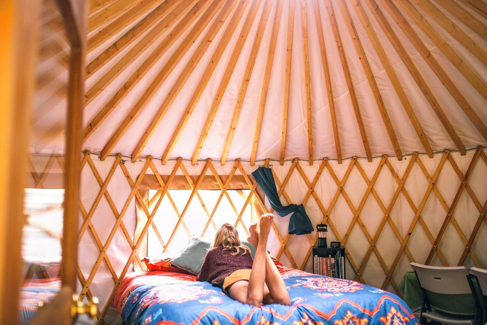 Relaxing inside the Yurt