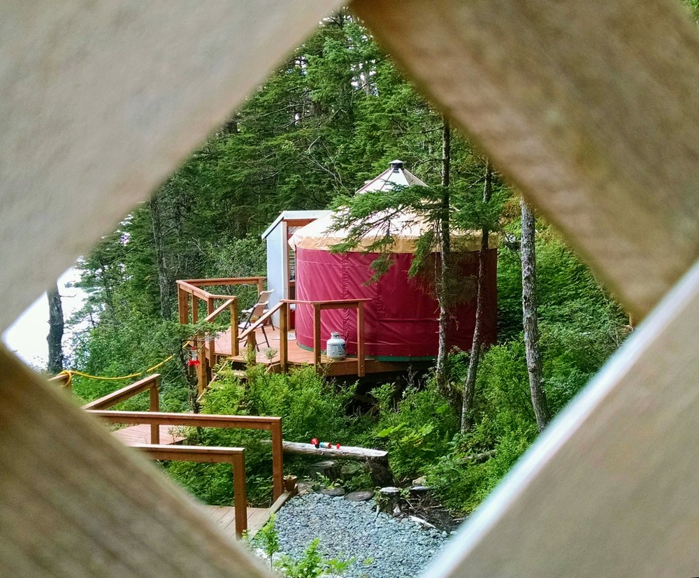 Our smaller, 1-2 person yurt at Shearwater Cove.