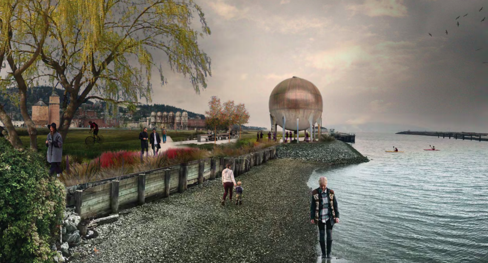 "Rendering of the ""Acid Ball"" and the soon-to-open Whatcom Waterway park on the Bellingham waterfront. (Photo credit: Mutuus Studios)"