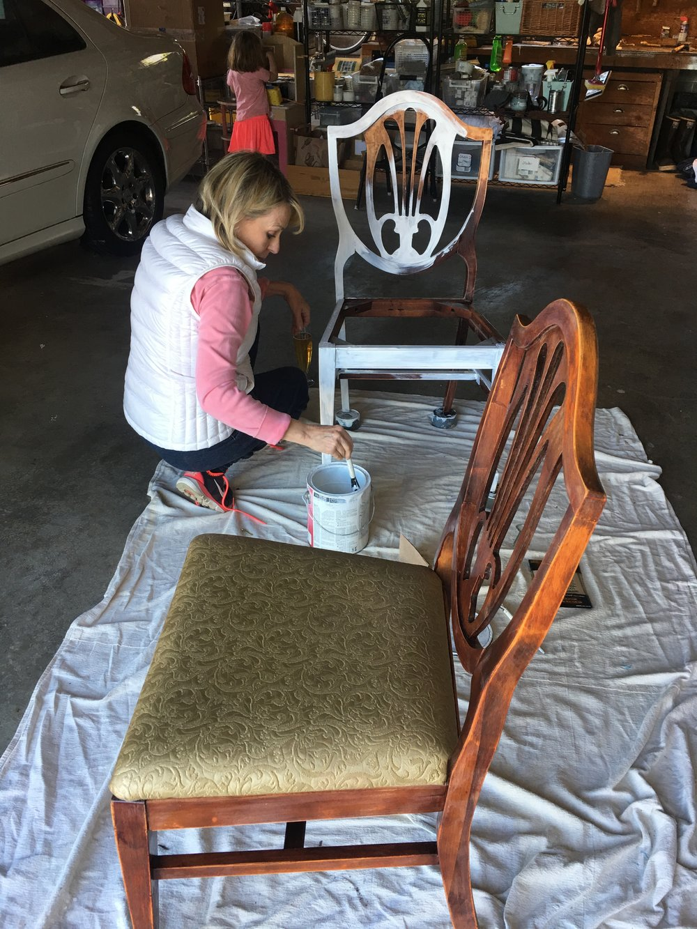 To be fair, that person painting that chair is actually my mom. She is a PRO at refurbishing furniture!