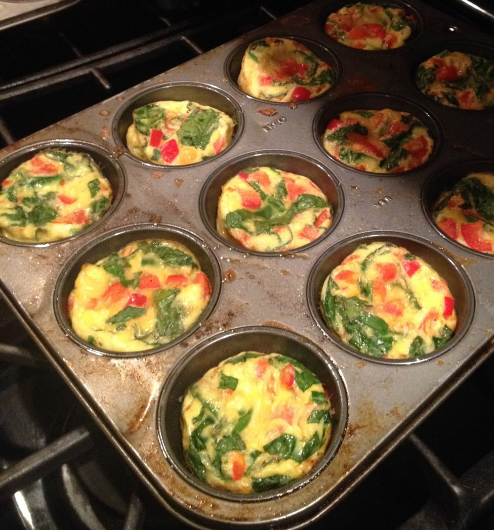 Egg cups are super easy to prep ahead.  Keep in a container in the refrigerator until time to reheat in the microwave.