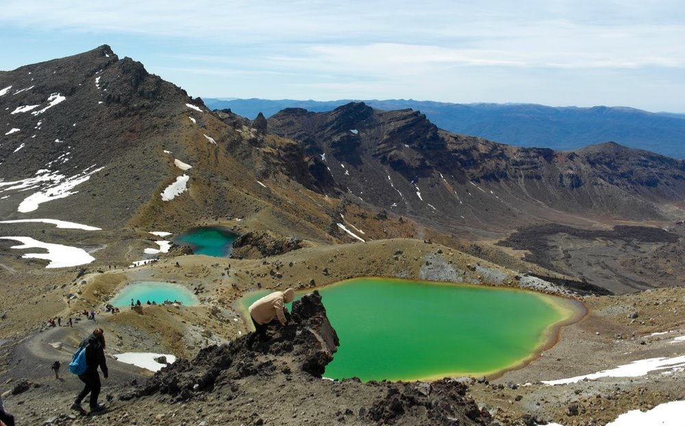 View from the summit over Emerald Lakes, across the Central Crater