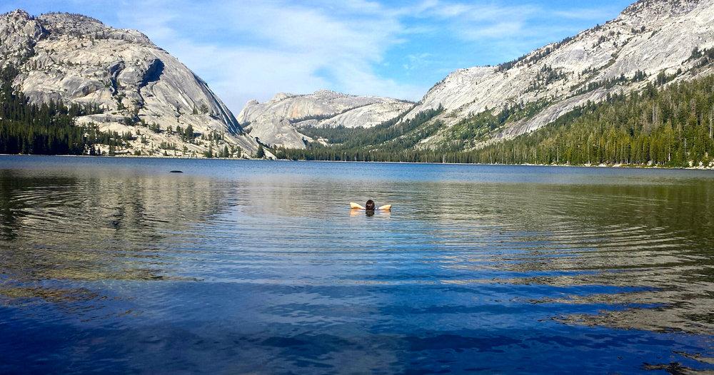 First bath in days -- Tenaya Lake, Yosemite National Park