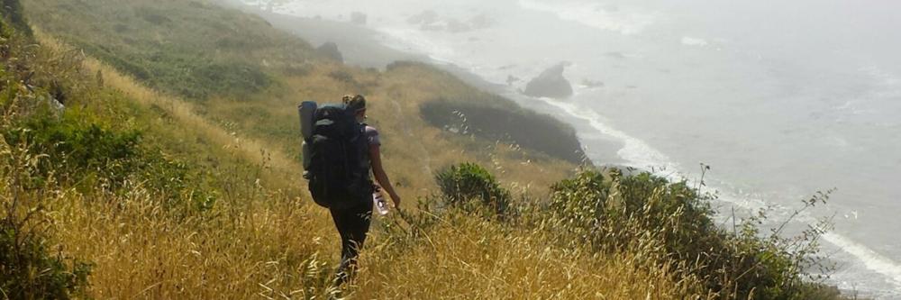 Steep decent in fog, Lost Coast Trail, California