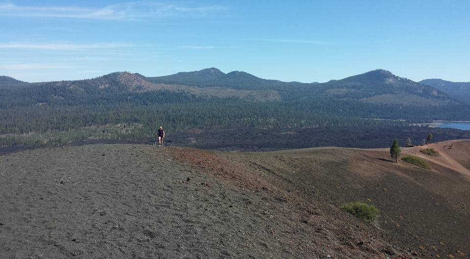 Traversing the rim of Cinder Cone, Lassen Volcanic National Park