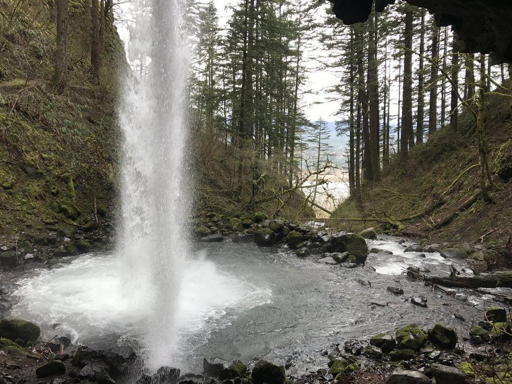 Behind Horsetail Falls, Columbia River Gorge, Oregon