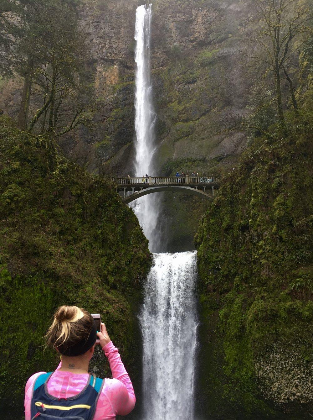 Photographing Multnomah Falls mid-run, Columbia River Gorge, Oregon