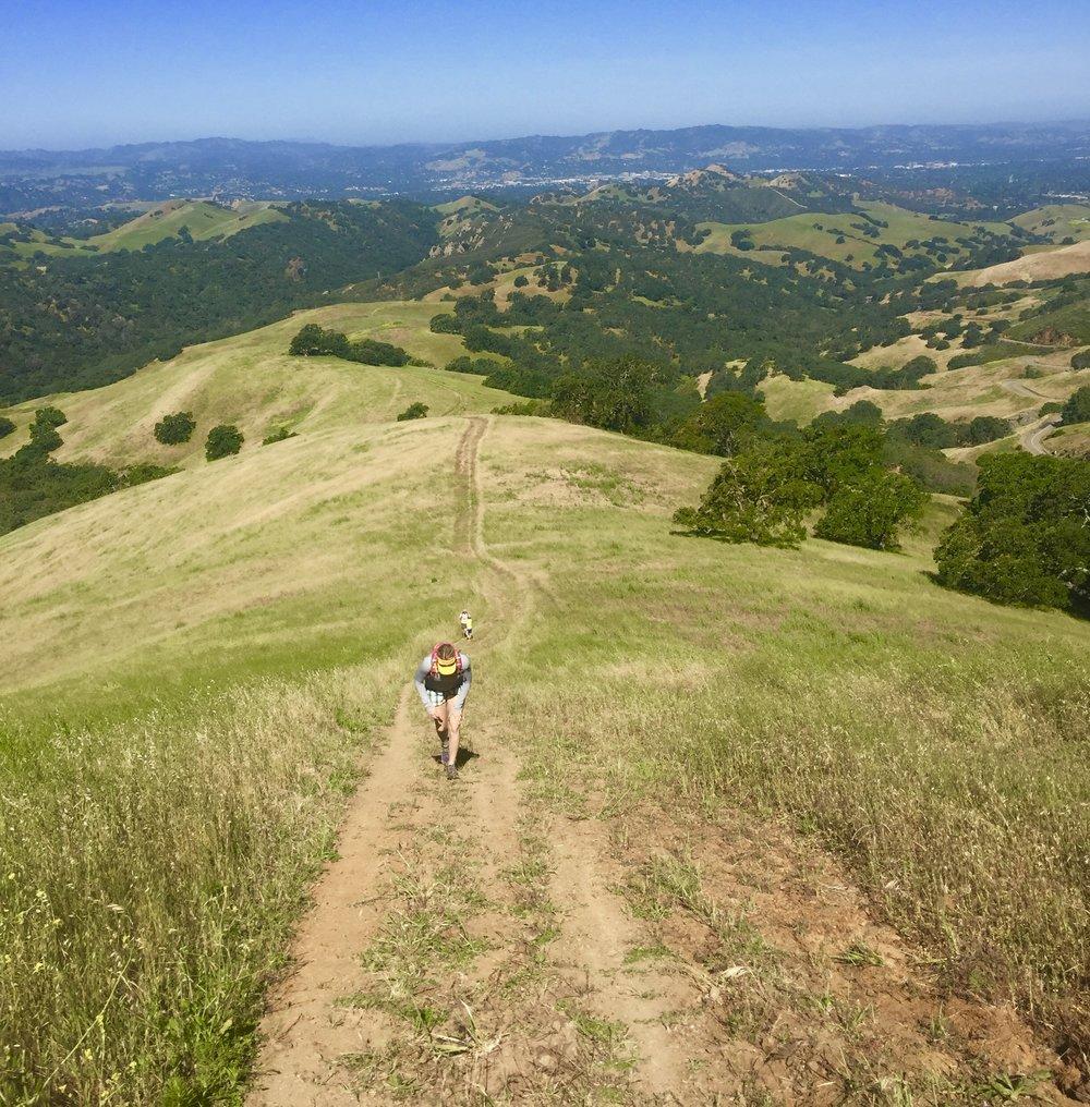 Jana climbing up Burma Trail, Mt. Diablo St. Park, California