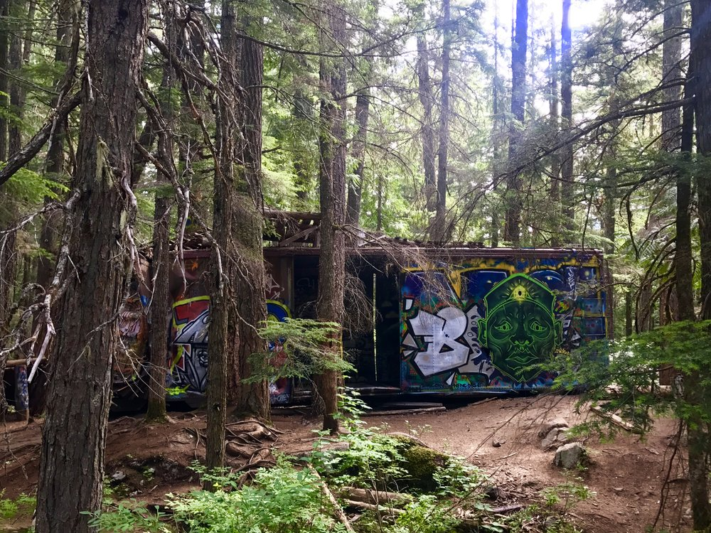 Scattered boxcars on the Trash Trail, British Columbia