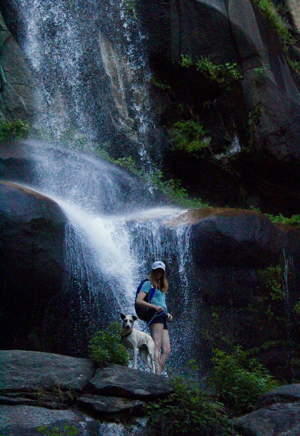 B and her dog, Nobe Young Falls, Sequoia National Forest, California