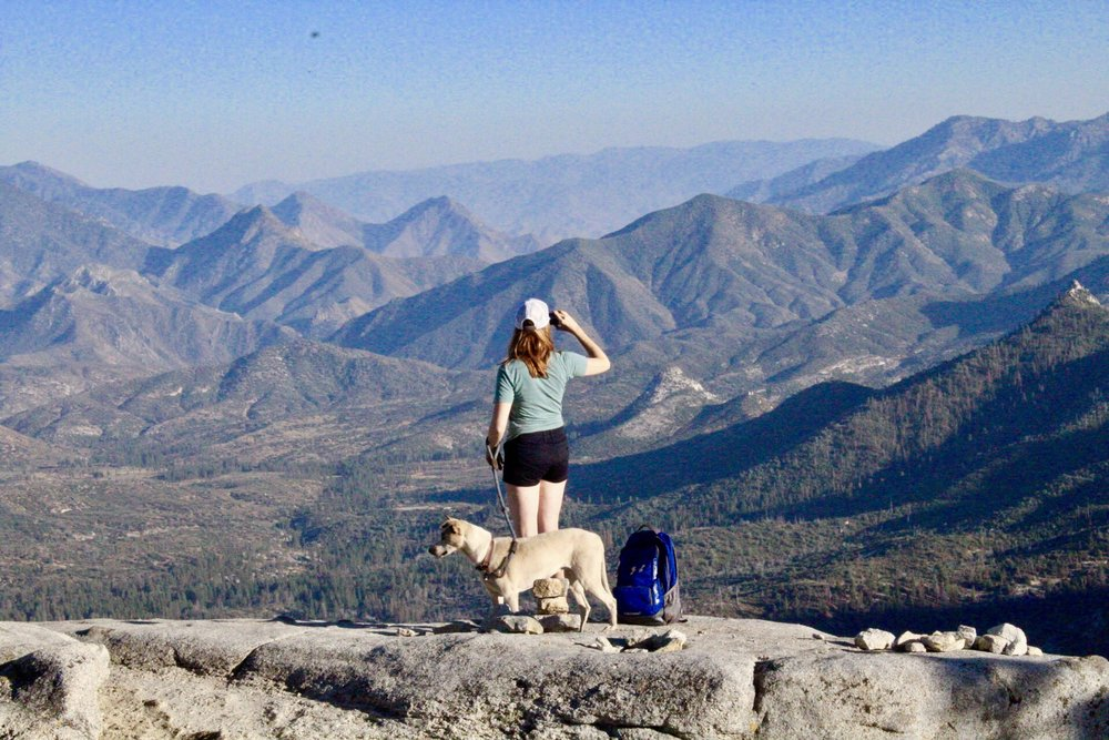 B and her dog, on Dome Rock, Sequoia National Forest, California