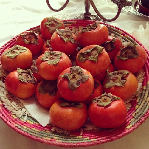 Persimmons in a bowl at my in-laws' house.