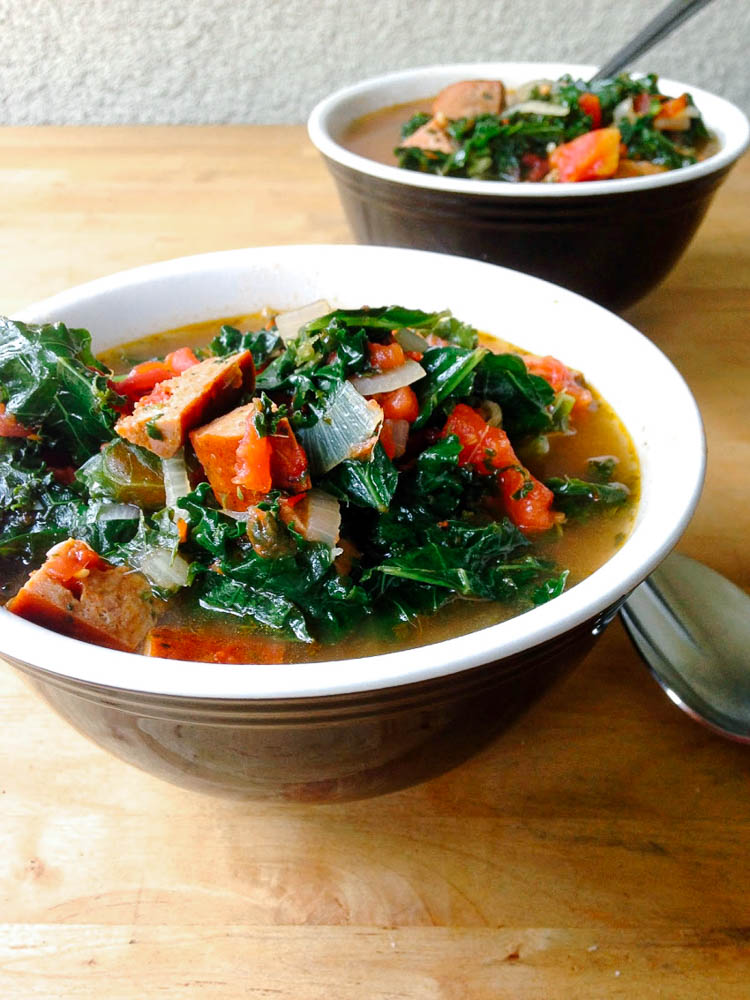 Paleo Kale-Sausage Minestrone Soup by Worthy Pause