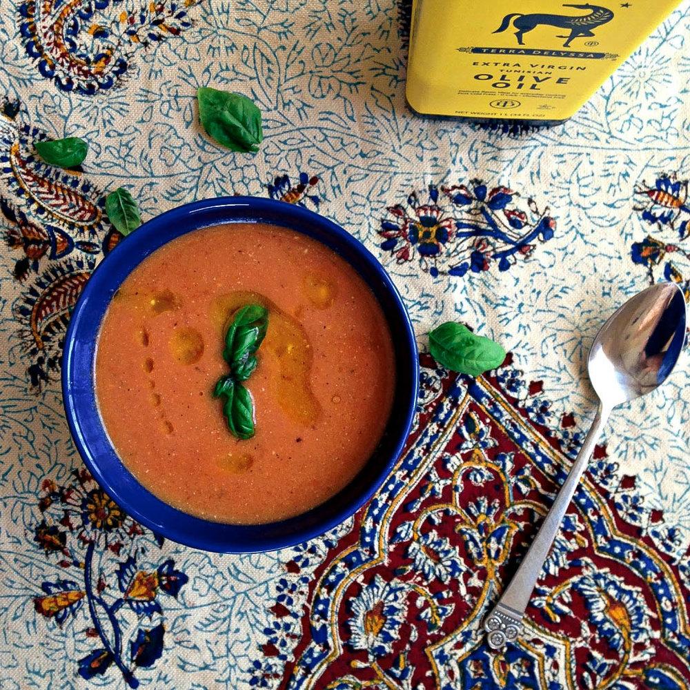 Creamy Tomato Basil Soup via Worthy Pause