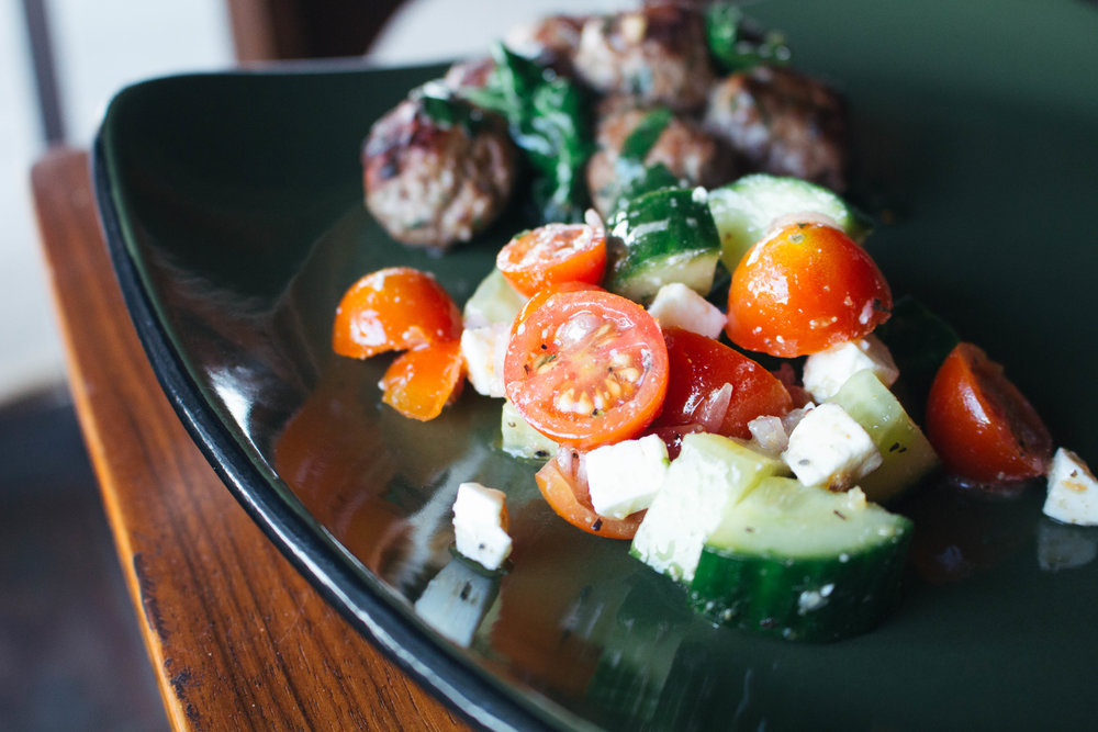 Cucumber-Tomato Salad with Feta via Worthy Pause