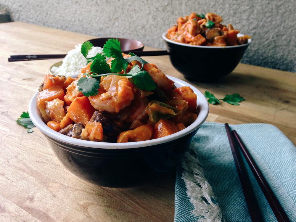 Paleo Thai Shrimp and Sweet Potato Red Curry Recipe via Worthy Pause