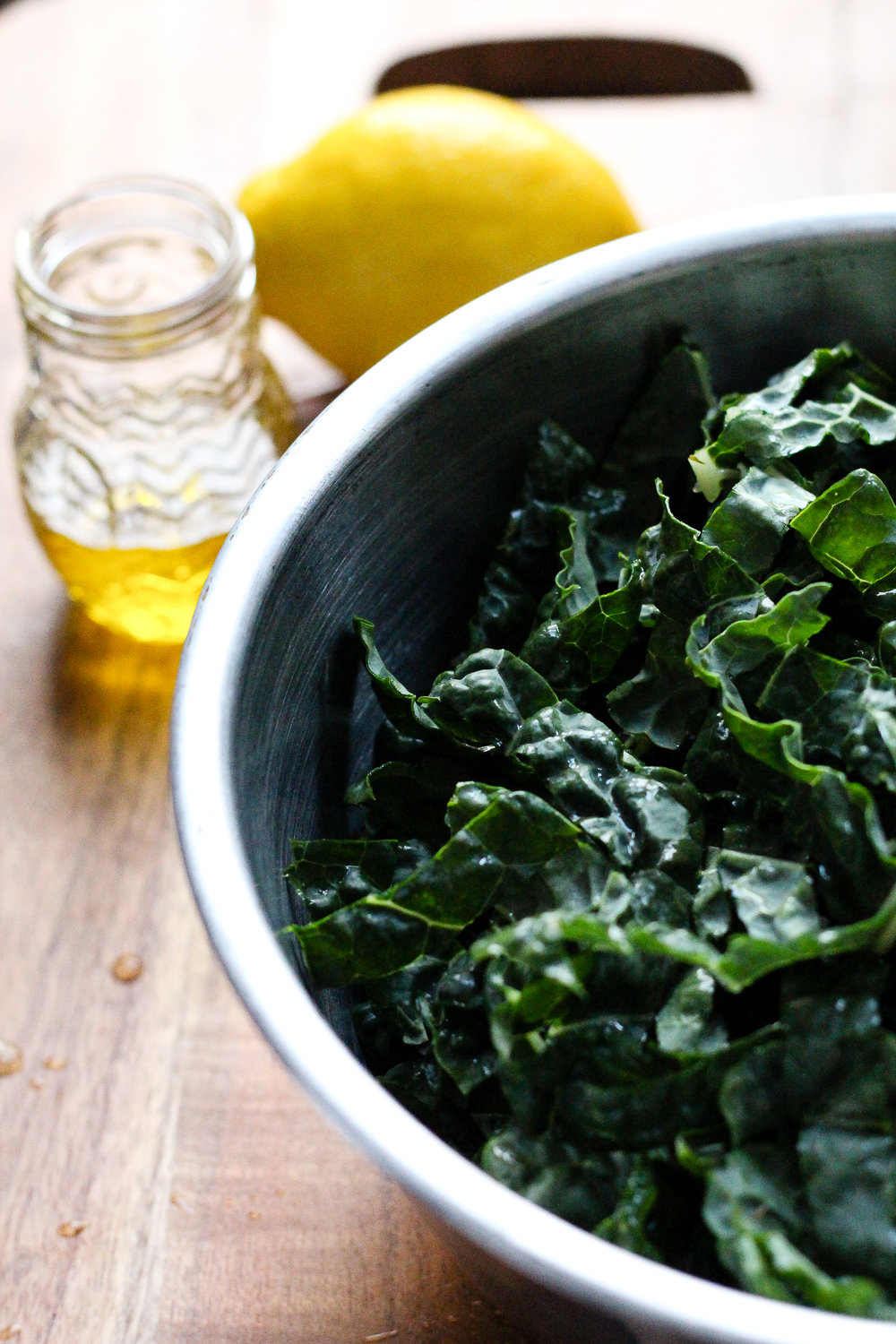 Massaged Kale Salad with Lemon and Parmesan via Worthy Pause