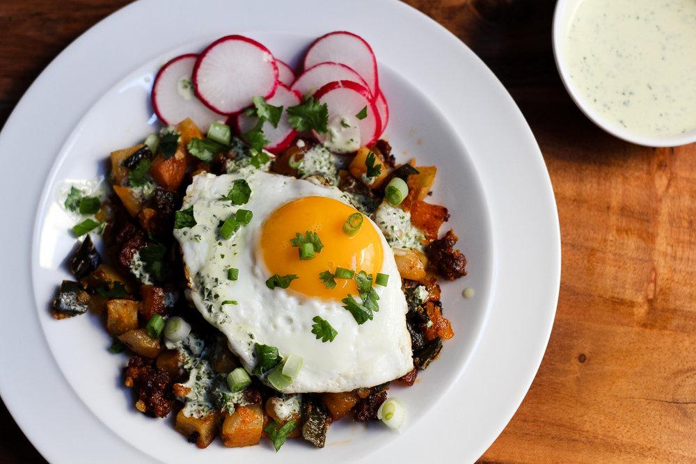 Poblano & Chorizo Breakfast Hash with Cilantro-Lime Crema via Worthy Pause