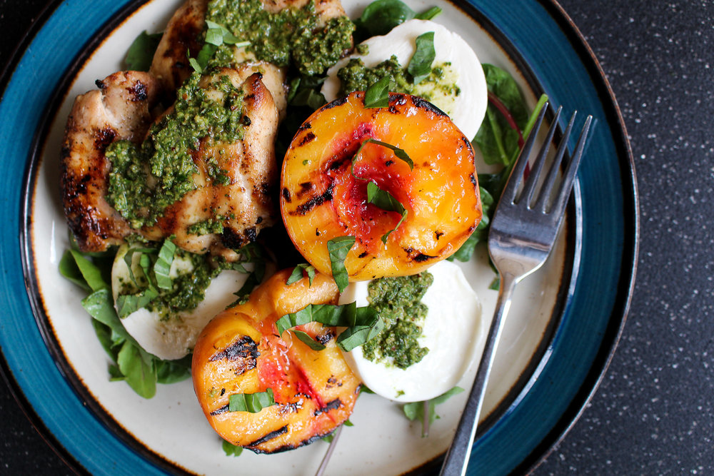 Grilled Peach and Chicken Salad with Mint-Basil-Pecan Pesto