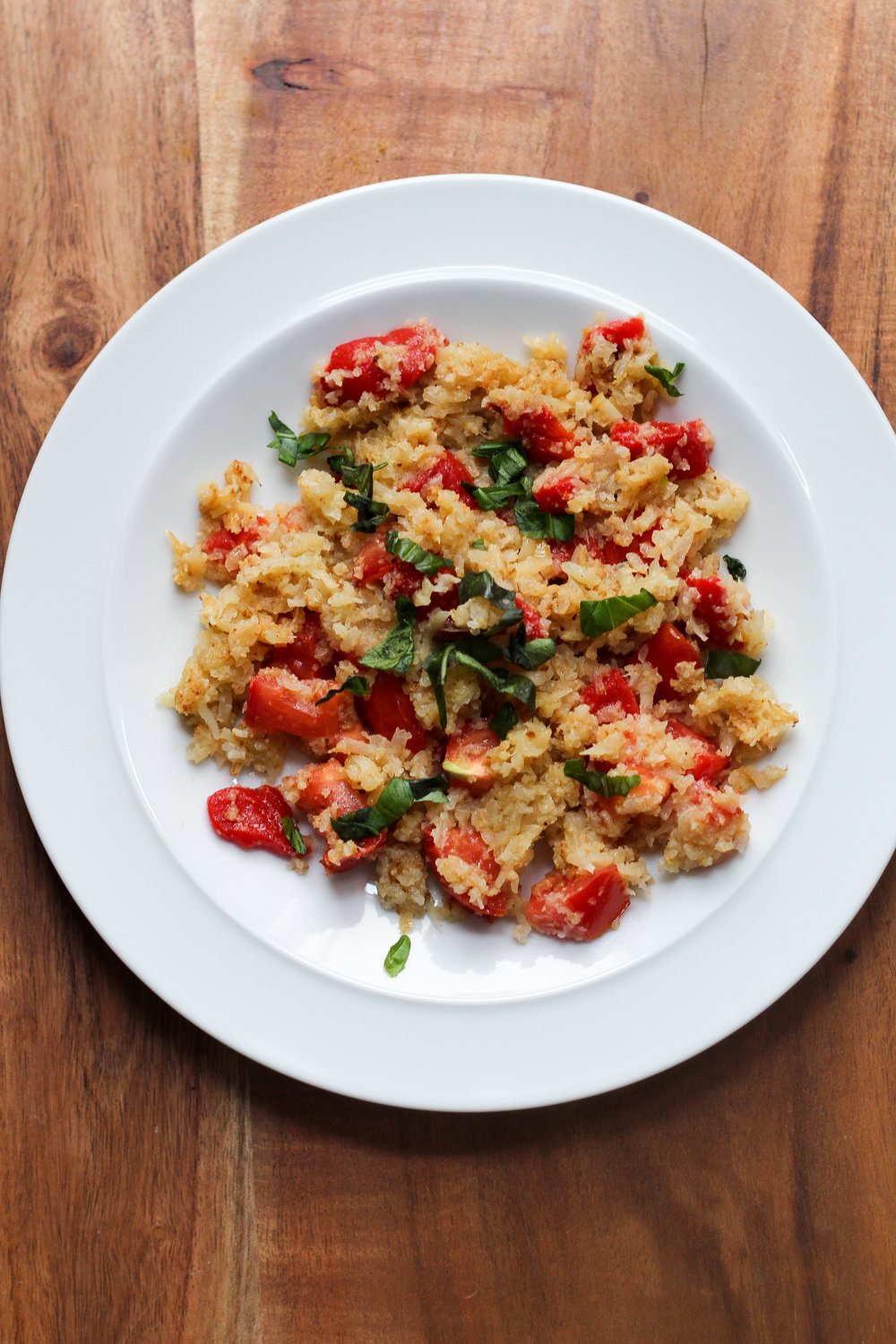 Tomato-Basil Cauliflower Rice Recipe via Worthy Pause