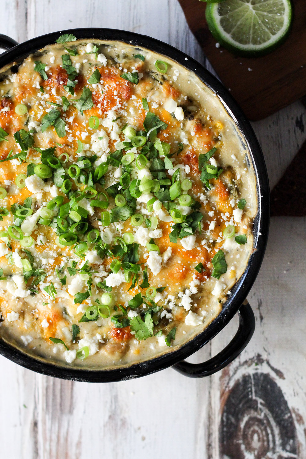 Poblano-Corn White Chicken Chili Dip via Worthy Pause