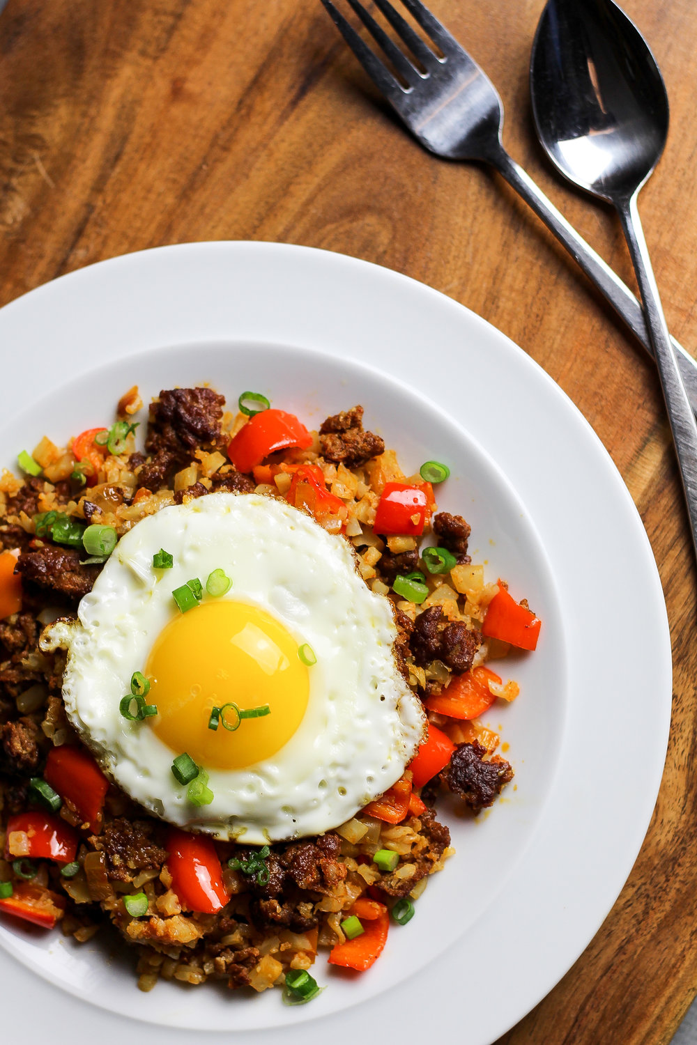 Paleo Chorizo Cauliflower Fried Rice by Worthy Pause