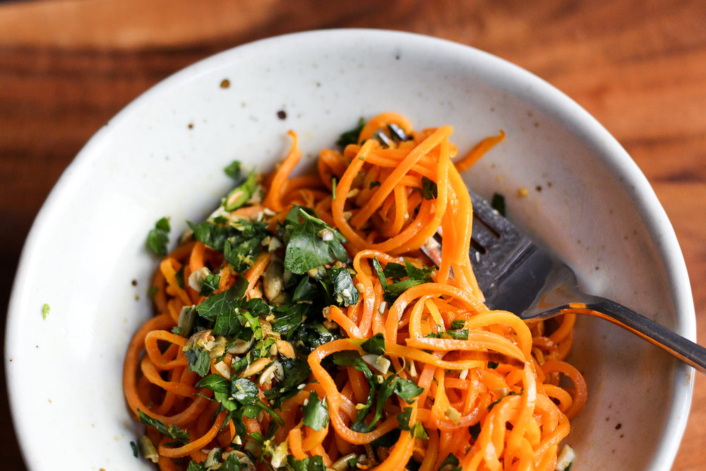 Paleo Sweet Potato Noodles with Spicy Pepita Gremolata Recipe via Worthy Pause