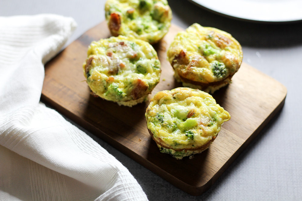 Paleo Bacon & Broccoli Egg Muffins Recipe via Worthy Pause