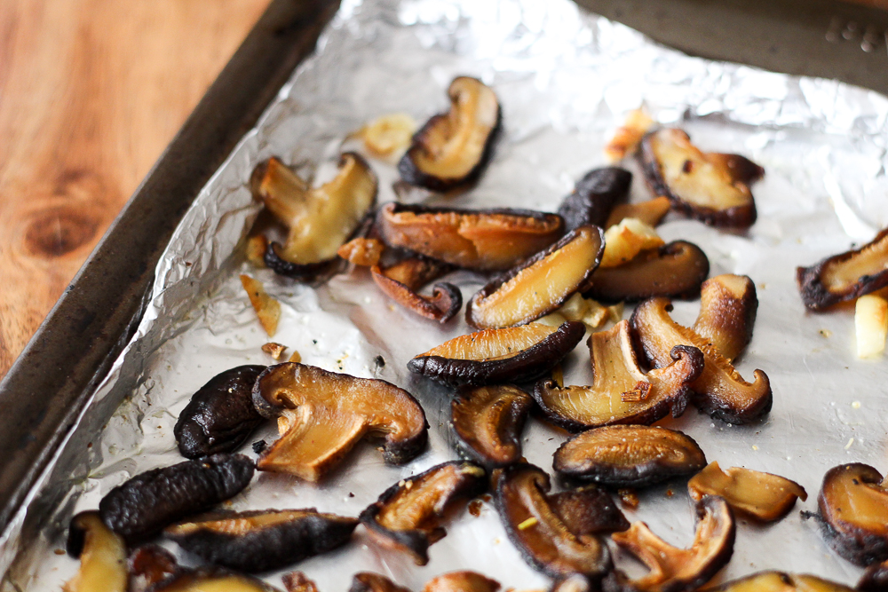 Garlicky Roasted Shiitake Mushrooms Recipe via Worthy Pause