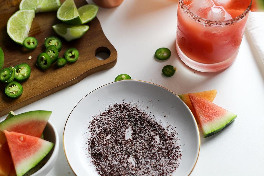 Salty Ancho-Chile Watermelon & CantaloupeMargaritas
