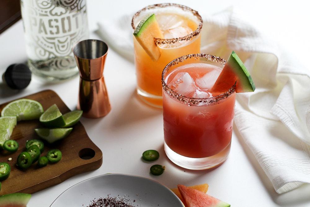 Salty Ancho-Chile Watermelon & Cantaloupe Margarita Recipe