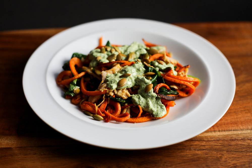 Sweet Potato Noodles with Creamy Green Sauce Recipe via Worthy Pause
