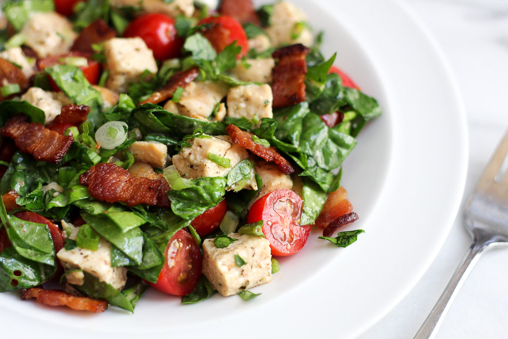 Paleo Chicken-Bacon-Ranch Spinach Salad Recipe via Worthy Pause