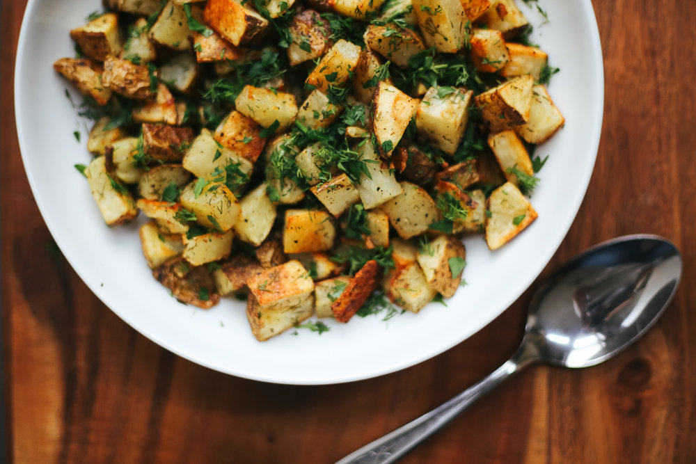 Dill Pickle Roasted Potatoes Recipe via Worthy Pause