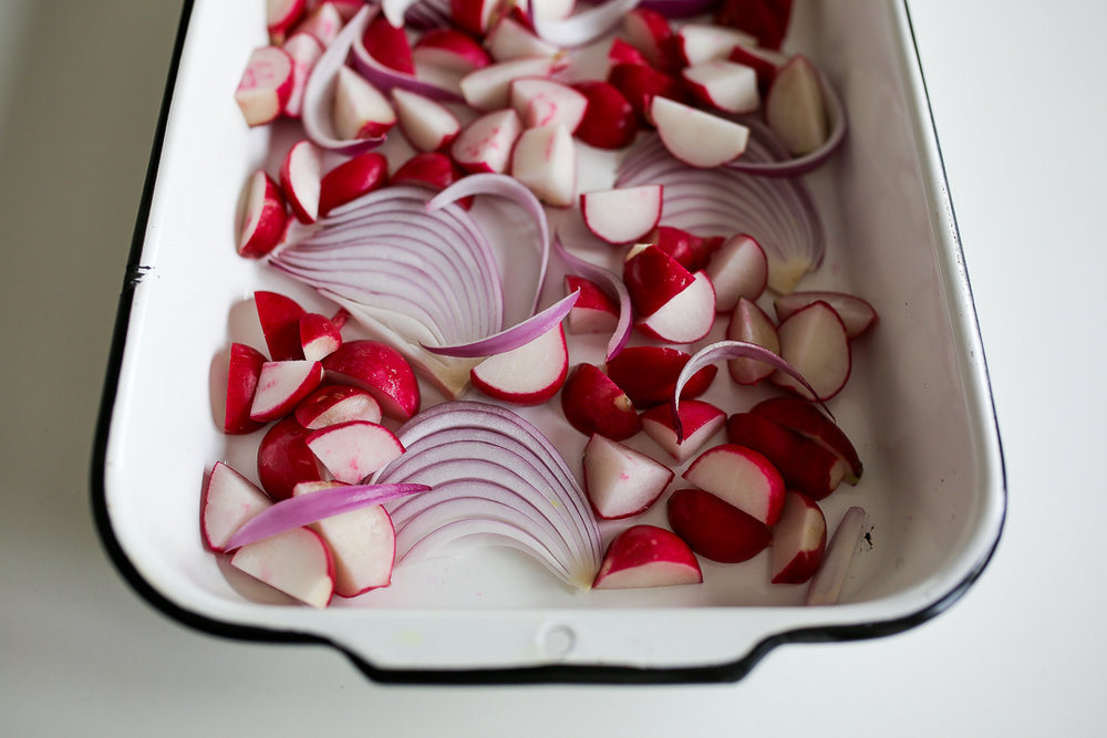 Crispy Garlic-Dill Chicken Thighs and Roasted Radishes Recipe via Worthy Pause